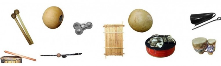 Traditional musical instruments and dance accessories.