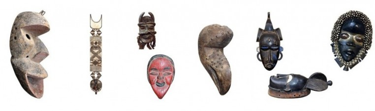 First African art masks, from West Africa.